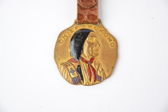 Chief Kokomo enamel metal watch fob