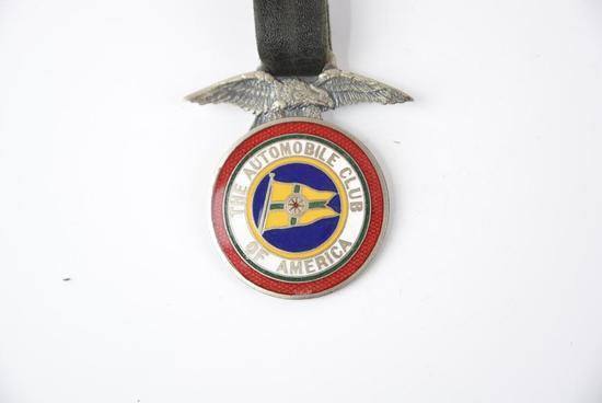 The Automobile Club of America enamel metal watch fob