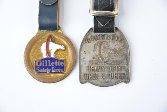 """2-Gillette Safety Tires """"A Bear for Wear"""" enamel watch fobs."""