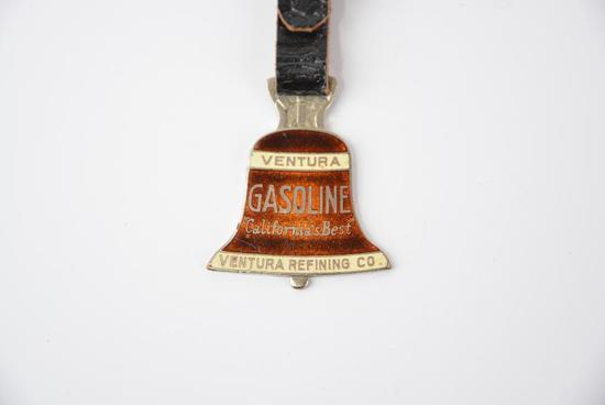"Ventura Gasoline ""California Best"" Ventura Refining Co. Enamel Watch Fob"