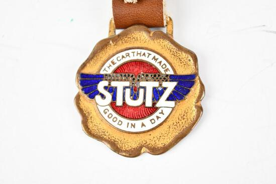 Stutz Automobile Enamel Metal Watch Fob