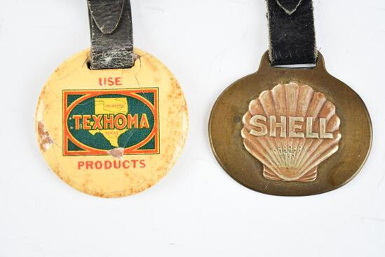 Lot of 2- Shell Gasoline & Texhome Gasoline Company Watch Fobs