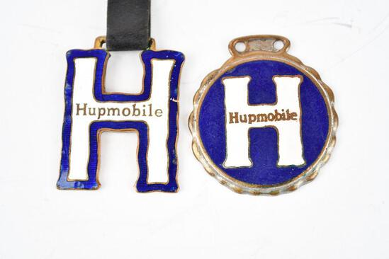 Lot of 2- Hupmobile Automobile Enamel Metal Watch Fobs