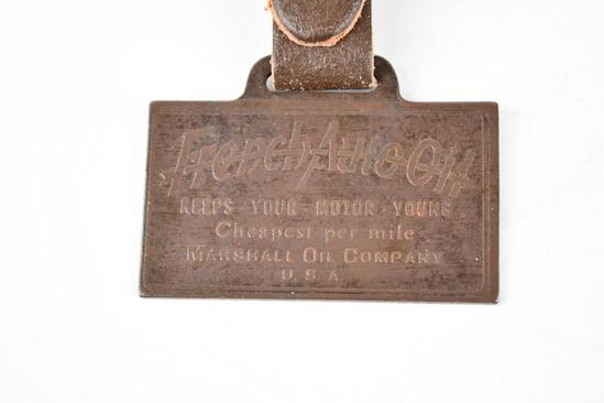 French Auto Oil Company Metal Watch Fob