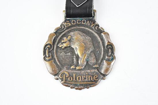 Socony Polarine Oil Company Metal Watch Fob