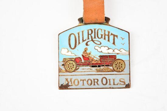 Oilright Motor Oil Company Enamel Metal Watch Fob