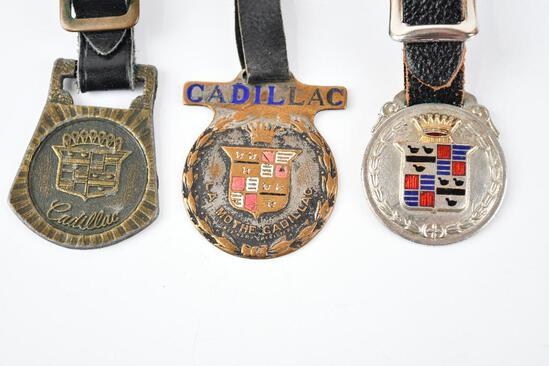 Lot of 3- Cadillac Automobile Company Watch Fobs