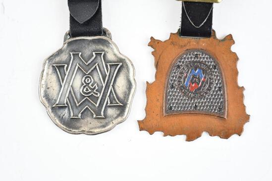Lot of 2- Morgan & Wright Heels Metal Watch Fobs