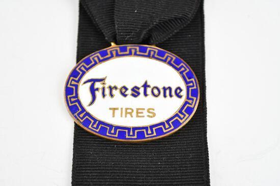 Firestone Tire Company Enamel Metal Watch Fob
