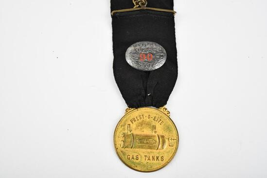 Prest-o-Lite Gas Tank Company Metal Watch Fob & Hartford Auto Show 1909 Button