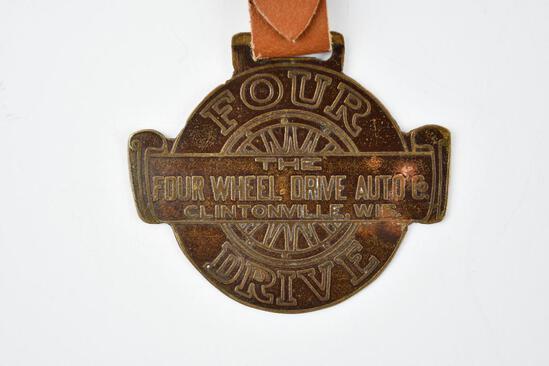 Four Wheel Drive Auto Company Metal Watch Fob