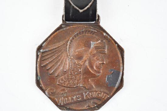 Willys Knight Automobile Company Metal Watch Fob