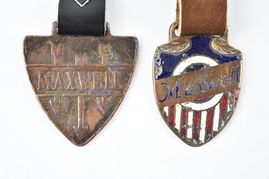 Lot of 2- Maxwell Automobile Enamel Metal Watch Fobs