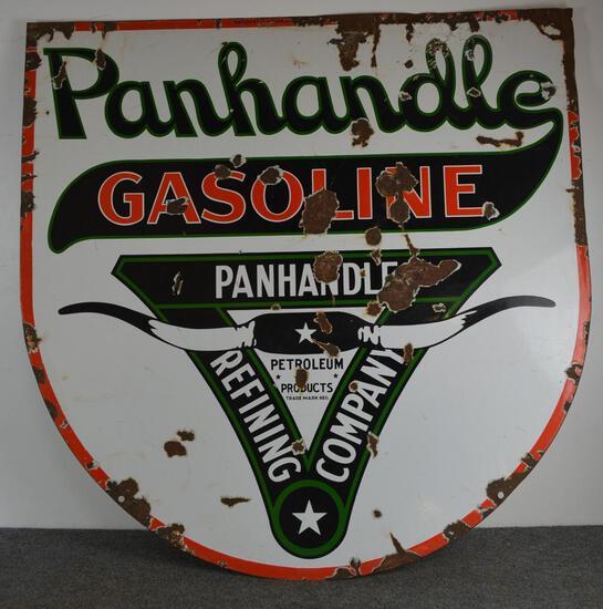 Panhandle Gasoline w/logo Porcelain Sign (TAC)