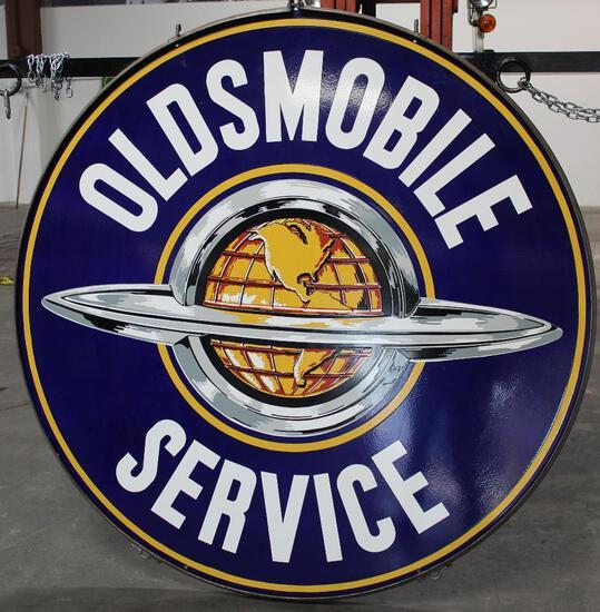 Oldsmobile w/Saturn Logo Porcelain Sign (TAC)