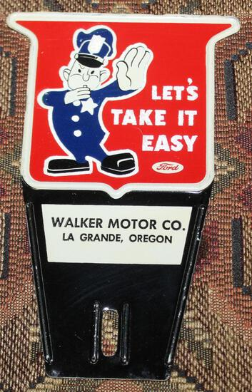 """Ford Motors """"Let's Take it Easy"""" plate attachment"""