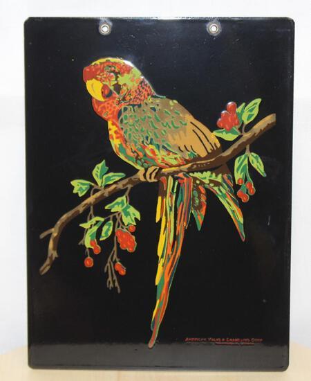 Depicting Parrot Porcelain sign salesman sample
