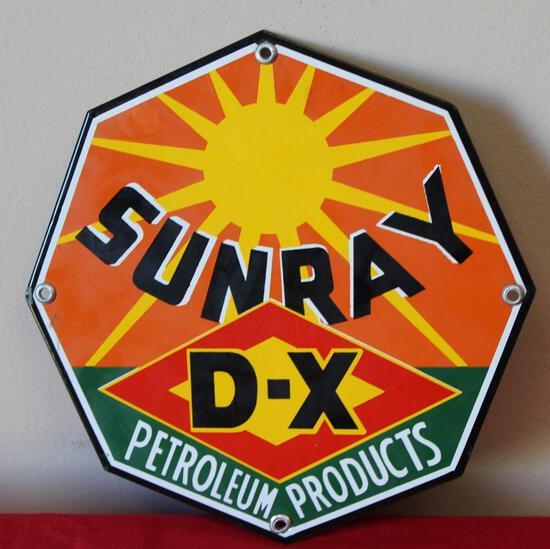 Sunray DX Petroleum Products Porcelain Fence Sign