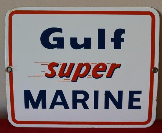 Gulf Super Marine Pump Plate Advertising Sign