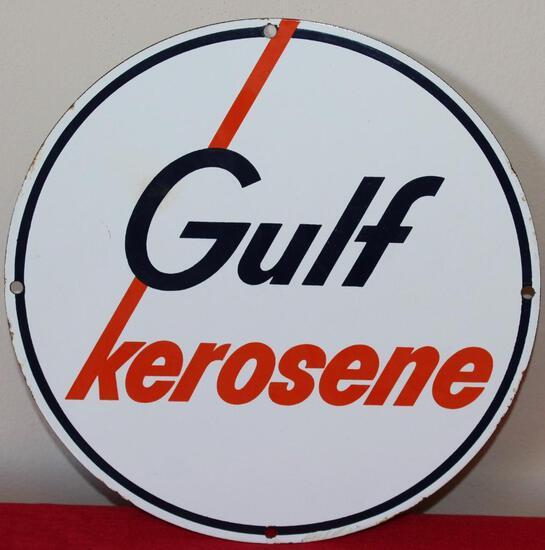 Gulf Kerosene Pump Plate Porcelain Sign (TAC)