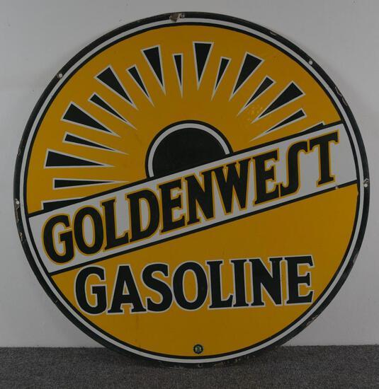 Rare Goldenwest Gasoline Porcelain Sign (TAC)