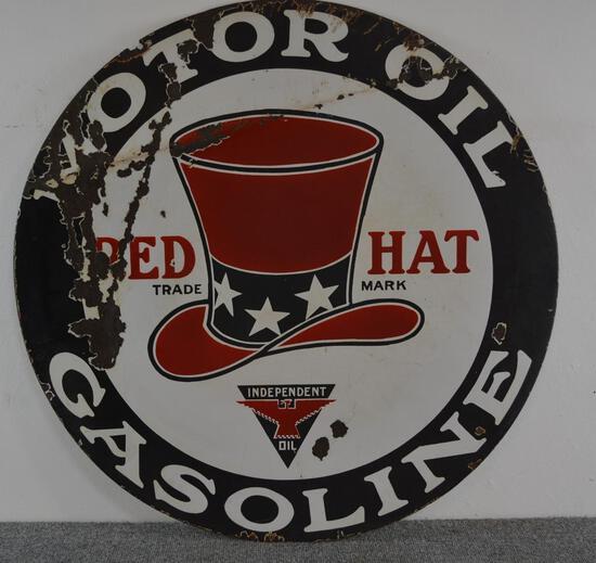 Red Hat Motor Oil Gasoline Porcelain Sign (TAC)