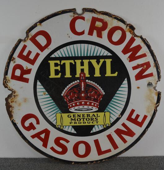 Red Crown Gasoline w/GM Ethyl logo Sign (TAC)