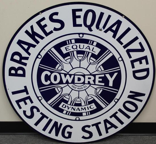 Cowdrey Bendix Brakes Equalized Porcelain Sign