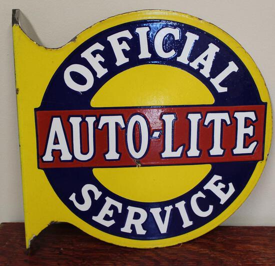 Auto-Lite Official Service Porcelain Flange Sign