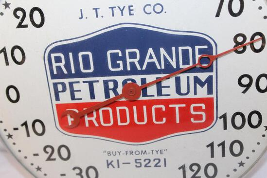 Rio Grande petroleum products round thermometer