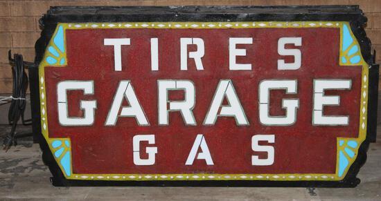 Garage-Tires-Gas Milk Glass Sign