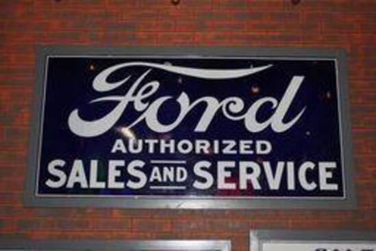 Ford Authorized Sales & Service Porcelain Sign