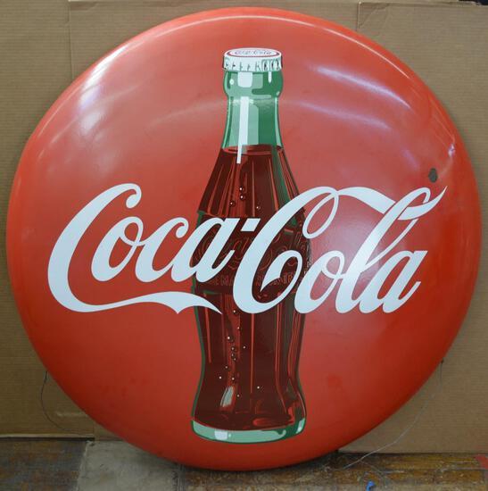 Coca-Cola w/bottle Large Porcelain Sign (TAC)