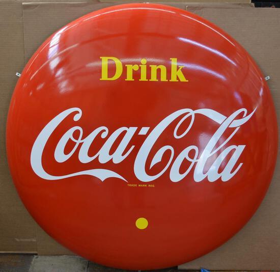 Drink Coca-Cola Large Porcelain Button Sign (TAC)