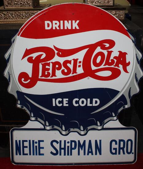 Pepsi Cola ice cold bottle cap style sign (TAC)