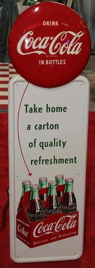 Coca-Cola pilaster sign with button
