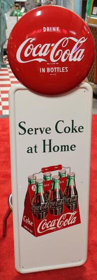 Coca-Cola pilaster sign w/button ?coke bottles in?
