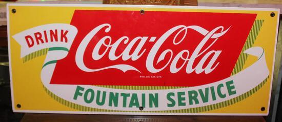 Coca-Cola fountain Service Porcelain Sign (yellow)