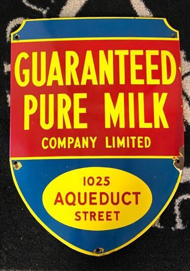 Guaranteed Pure Milk Porcelain sign (TAC)