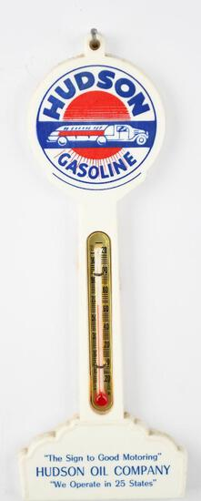Hudson Gasoline Plastic Pole Thermometer w/Delivery Truck Logo