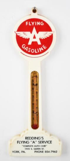 Flying A Gasoline w/logo Plastic Pole Thermometer