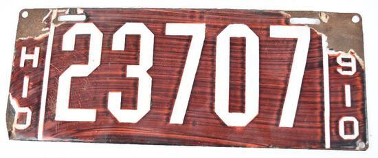 1910 Ohio License Plate 23707 Porcelain