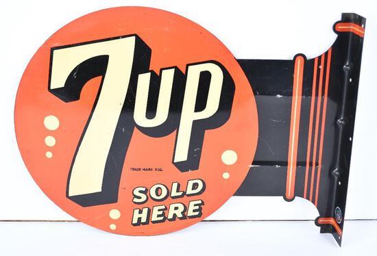 Hard to find 7up Sold Here Metal Flange Sign