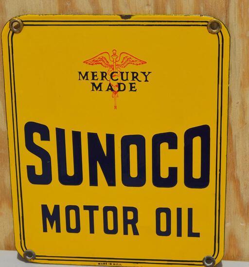 Sunoco Motor Oil w/Mercury Made logo Porcelain Sign
