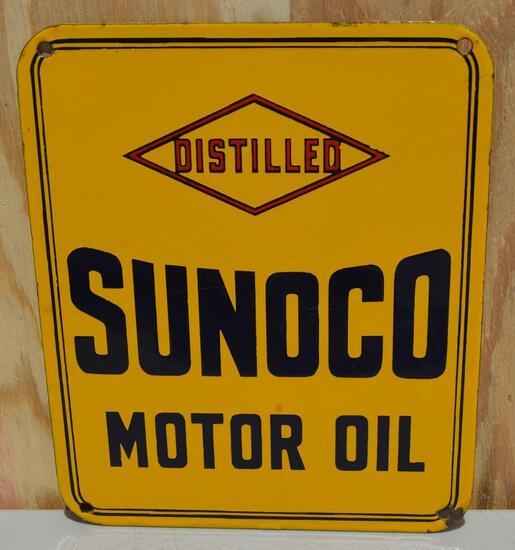 Sunoco Motor Oil Distilled Porcelain Sign