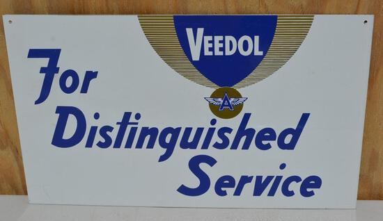 """Veedol """"For Distinguished Service"""" Metal Sign"""