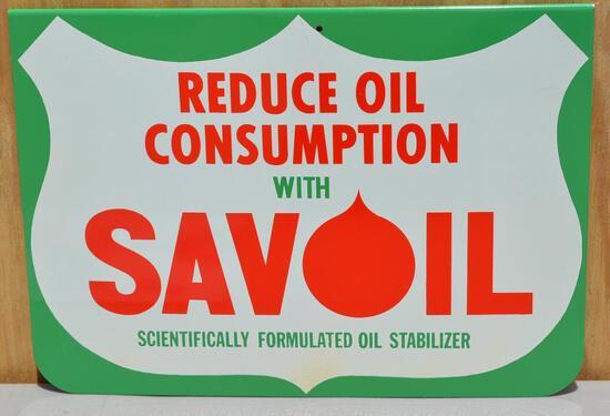 "Savoil ""Reduce Oil Consumption"" Metal Sign"