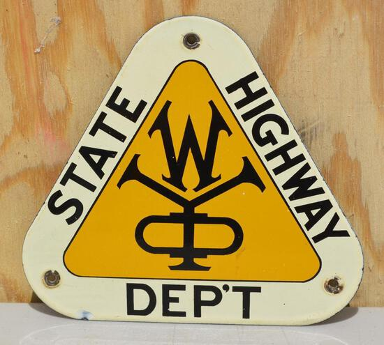 Wyoming State Highway Dep't Porcelain Sign