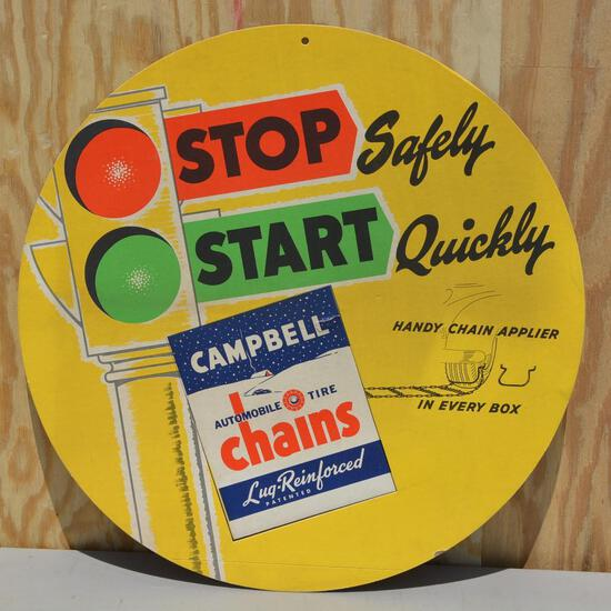 Campbell Automobile Chains Cardboard Sign