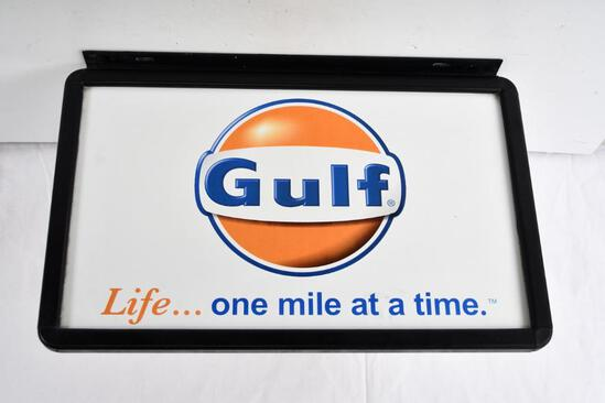 """Gulf """"Life-one mile at a time"""" Metal Sign"""